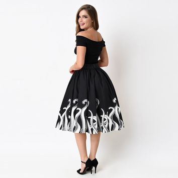 """Abigail"" 1950's Vintage Inspired Rockabilly Black & White Octopus Print Circle Skirt"
