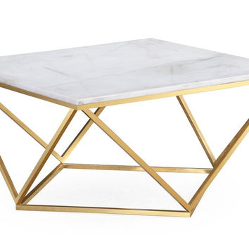 TOV Furniture Leopold White Marble Cocktail Table