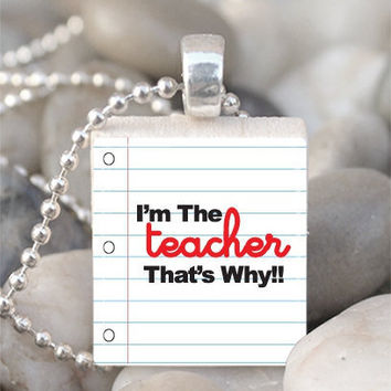 Scrabble Tile Pendant Teacher Pendant Teacher Necklace With Silver Ball Chain (A885)
