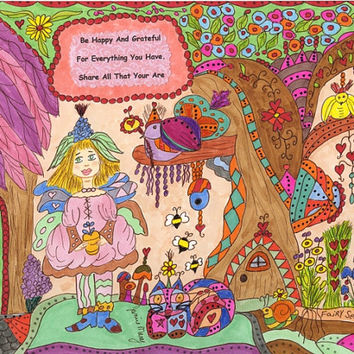 "Fairy Folk Art Print Whimsical ""Be Happy And Grateful"", Fantasy, Fairytale, Enchanted, Vibrant, Colorful. Flowers, Retro, Bird"