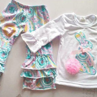 Girls 2pc Easter Outfit, Bunny Outfit, Paisley Print *Preorder 0029*