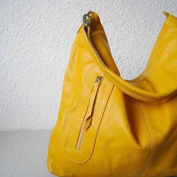 Leather purses Max medium yellow---Adeleshop handmade Leather bag Messenger hobo Shoulder bag Tote Handbag Hip bag Women