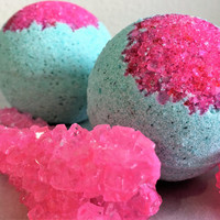Eye Candy Bath Bomb; XL Bath Bomb; Teal Bath Bomb; Foaming Bath Bomb; Hot Pink Bath Bomb; Organic Shea Butter