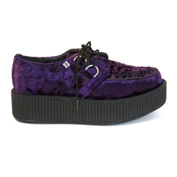 T.U.K. Creeper - Purple Velvet Chunky Platform Oxford