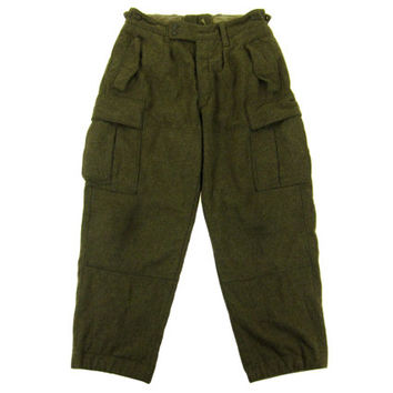Vintage West German Military Trousers - Wool Felt Camping Hiking Outdoor Pants Army Menswear Winter Men's Size 32 Medium