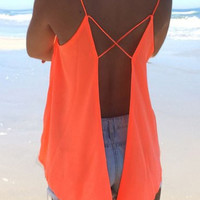 Strappy Backless V-Neck Chiffon Top