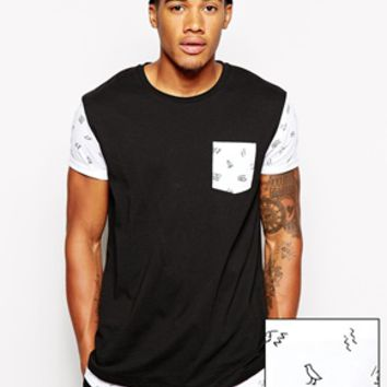 ASOS Longline T-Shirt With Egyptian Printed Double Layer Effect And Sk