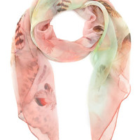 Pheasant Feather Chiffon Square Scarf | Multi | Accessorize