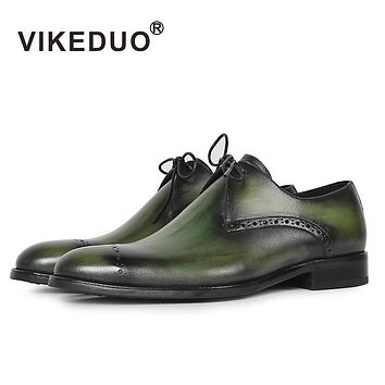VIKEDUO Hot Luxury Flat Shoes Men's Derby Shoes Handmade 100% Genuine Leather Dress wedding party Shoes Lace-up Original design