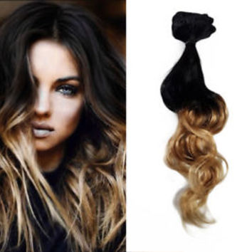 Clip in Caramel Blonde and Black Ombre Human Hair Extensions Balayage Highlights