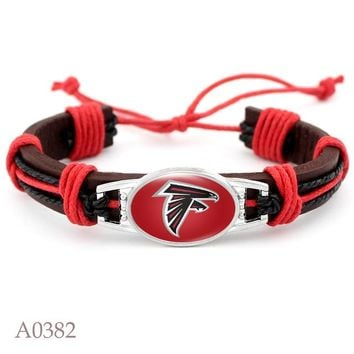 Sport Fashion Denver Broncos Real Leather Bracelet Adjustable Leather Cuff Bracelet For US Football Fans 10pcs/lot