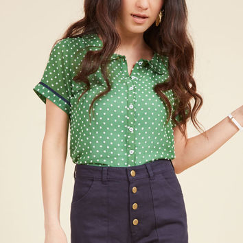 Darling in Dots Button-Up Top in Clover | Mod Retro Vintage Short Sleeve Shirts | ModCloth.com