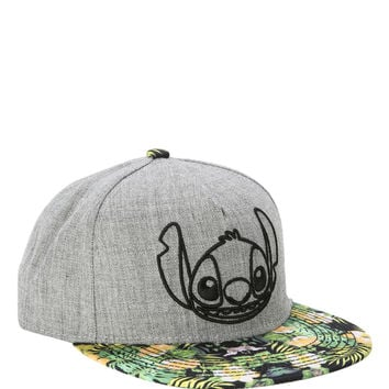 Disney Lilo & Stitch Grey & Floral Snapback Hat