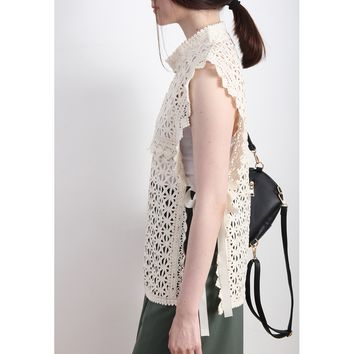 Crochet Lace Top With Open Side