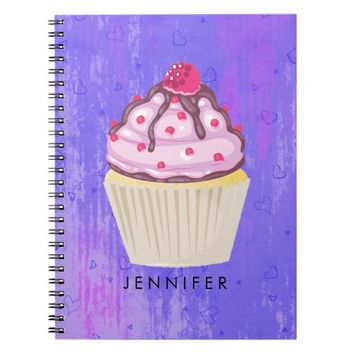 Sweet Cupcake with Raspberry on Top Notebook
