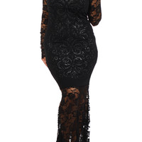 Plus Size Celebrity Style Sparkle Lace Turtleneck Maxi Dress - Now 60% OFF