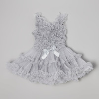 Silver Bow Ruffle Dress - Kids