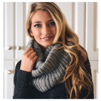 """""""Your New Favorite"""" Cozy Warm Ribbed Knit Grey Infinity Scarf"""