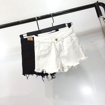 All-match Fashion Irregular Ripped Worn Tassel Edge High Waist Jeans Shorts Hot Pants