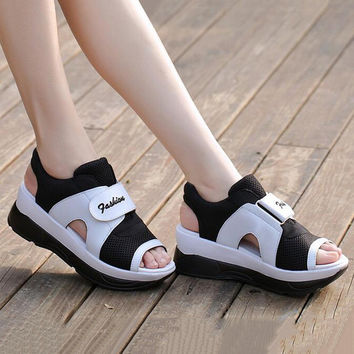 Hot Sale Platform Sandals Women Summer Ladies Sport Wedges Casual Sandals Mesh Breathable Shoes Woman Wedges sandale femme