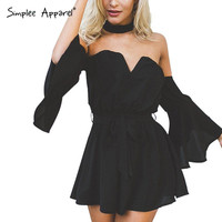 Simplee Apparel sexy bustier chiffon black jumpsuit romper summer v neck pleated playsuit Halter backless flare sleeve overalls