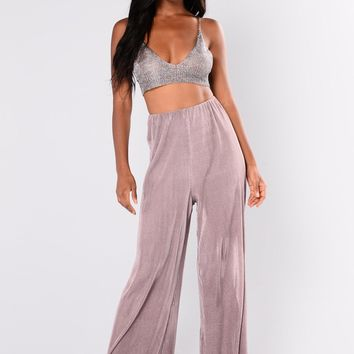 Layla Satin Pleated Pants   Dusty Lavender