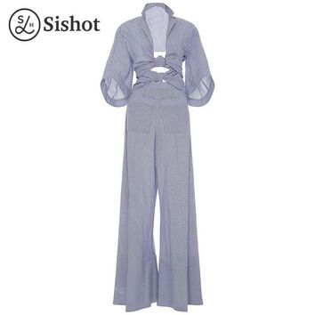 Summer Bell Bottoms Stripes Lace Up Pocket Fashion Slim Blue Striped Full Length Casual Jumpsuit