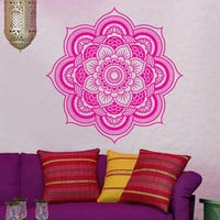 Wall Decal Vinyl Mural Sticker Art Decor Bedroom Yoga Mandala Menhdi Flower Pattern Ornament Om Indian Buddha Home Interior Design (m1322)