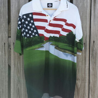 Vintage Men's Tabasco Golf Links Polo Shirt - Hot Sauce - American Flag - Golf Sz L