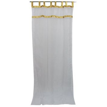 "Mogul White Sari Curtains Sheer Gold Border Moroccan Drapes 2 Panels 48""x108"" - Walmart.com"