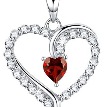 Valentines Day Gift for Her women Red Garnet January Birthstone Heart Necklace Jewelry Sterling Swarovski