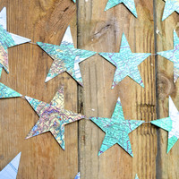 Extra Large Map Stars Garland - made from vintage maps and atlases
