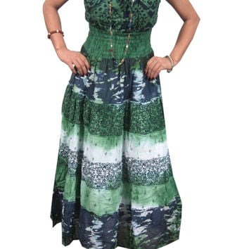 Womens Dress Bohemian Peasant Tie Dye Maxi Dresses