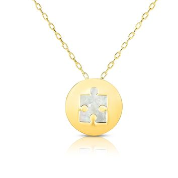 """14K Yellow Gold Mother Of Pearl Puzzle Pendant Necklace, 16"""""""