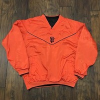 San Francisco Giants Orange / Black Reversible Windbreaker Jacket Mens Sz Medium
