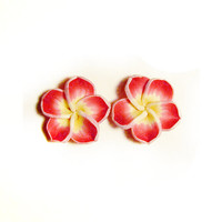 Plumeria Stud Earrings, Pink Hawaii Flower Post Earrings