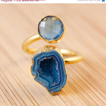 SALE Sky Blue Quartz And Cobalt Blue Druzy Ring - Statement Ring - Choose Your Ring