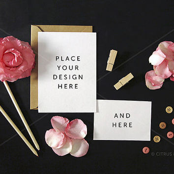 Styled Stock Photography - Product Presentation - Wedding Invitation Mock Up - Pink Rose Petals & Blank Portrait Card on Chalkboard