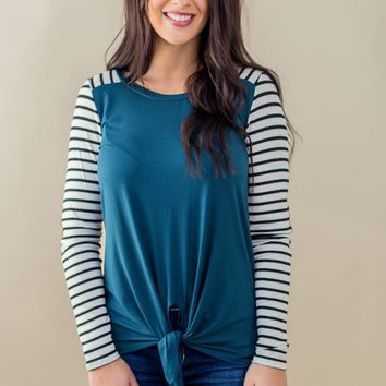 Just A Little Joy Striped Top-Teal