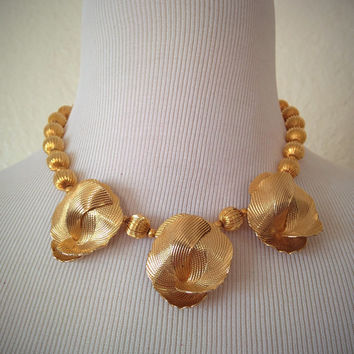 Vintage 60's Gold Choker Necklace Gold with Floral Accents