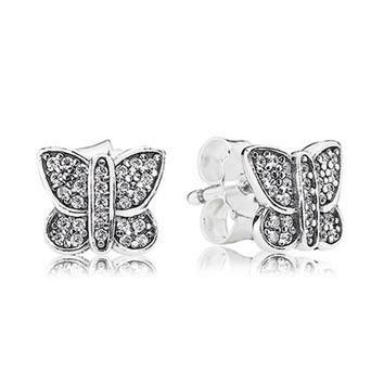 Authentic Pandora Jewelry - Sparkling Butterfly Stud Earrings