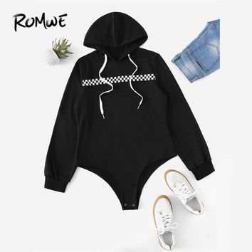 ROMWE Black Drawstring Gingham Tape Hooded Bodysuit Women Casual Autumn Long Sleeve Mid Waist Clothing Female Spring Bodysuit