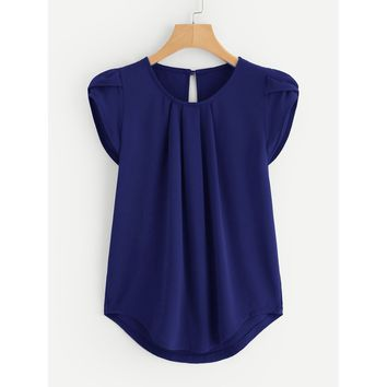Petal Sleeve Pleated Detail Curved Hem Blouse Navy