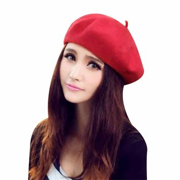 Winter Warm Wool Women Beret Hats Newsboy Beanies Autumn Girl Beret French Artist Caps Bonnet Femme Ladies Tam Hats Skullies