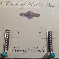 Authentic Navajo,Native American,Southwestern sterling silver bead Sleeping Beauty turquoise stud earrings.