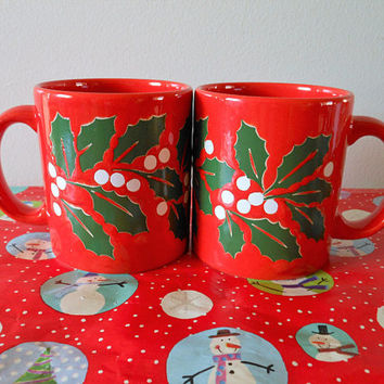 2 Red Waechtersbach Christmas Mugs, Waechtersbach Christmas Holly Coffee Cups, Red Holly and Berry Coffee Mugs