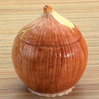 Yellow Onion Ceramic Container - 6224