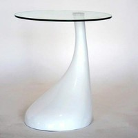 Wholesale Interiors 2309-WHITE Andree White Glass top Accent Table