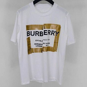 BURBERRY 2019 new personality tape stitching design loose round neck T-shirt white