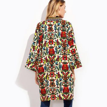 Women Colorful Open Front Outerwear With Tribal Print Tape Detail 3/4 Sleeve Coat